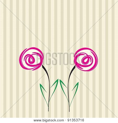 Two Flowers. Vector.