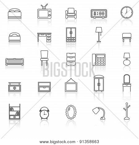 Bedroom Line Icons With Reflect On White