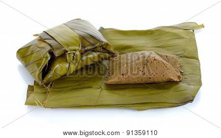 Steam Soybean With Banana Leaf Isolated On White ,northern Of Thailand Food