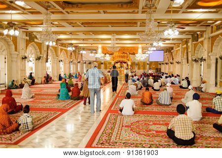 BANGKOK, THAILAND - OCTOBER 26, 2011: Sikh temple interior. Bangkok is the capital and the most populous city of Thailand. It is known in Thai as Krung Thep Maha Nakhon