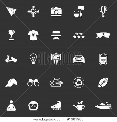 Hipster Icons On Gray Background