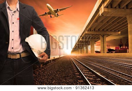 Industry Container Trains On Railways Track Cargo Plane Flying With Land Bridge Transportation And S
