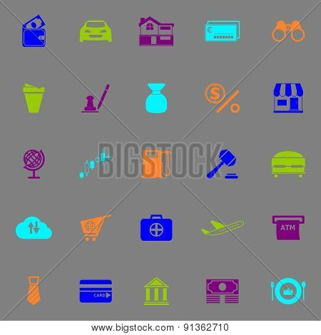 E Wallet Icons Fluorescent Color On Gray Background