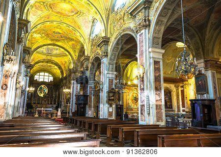 The interior of San Francesco d'Assisi Church in Turin
