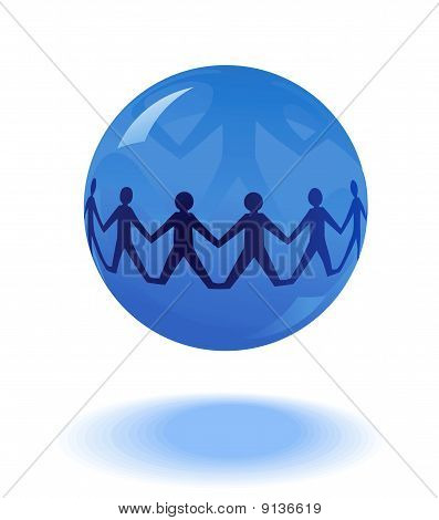 people chain in blue globe