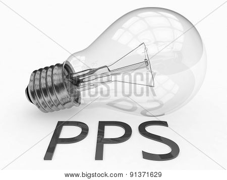 PPS - Pay per Sale - lightbulb on white background with text under it. 3d render illustration. poster