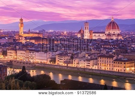 View Of Florence At Dusk From Piazzale Michelangelo In Florence, Italy