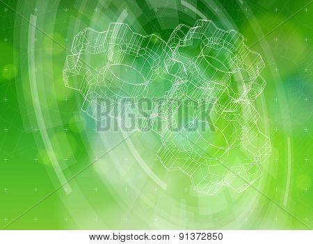 Ecology technology concept - gears, radial HUD elements & green bokeh abstract light background / vector illustration / eps10