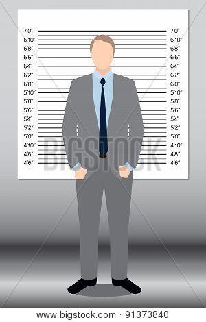 Businessman In Police Lineup Backdrop, Illustration, Vector