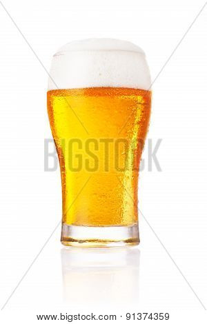 Glass of fresh beer with cap of foam isolated on white background. poster