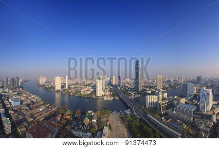 Beautiful City Scape From Sky Scrapper In Heart Of Bangkok Capital Of Thailand ,with Important Offic