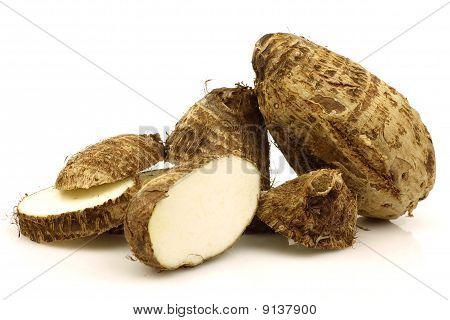 cut fresh taro root (colocasia)
