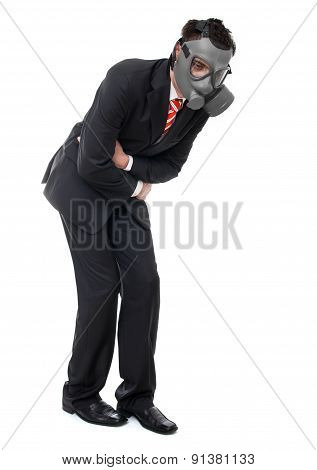 Business Man With Gas Mask Have Stomach Pain, Isolated On White