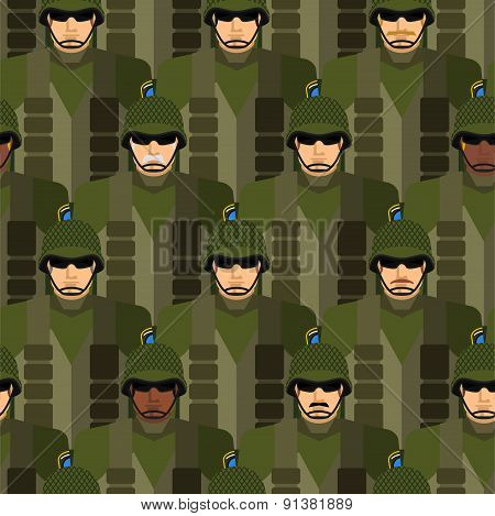 Marines seamless pattern. Soldiers in helmets and bullet-proof vests. Military people vector illustr