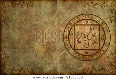 An ancient textured paper page background with mystical magical occult sigil or seal and blank space for your copy. poster