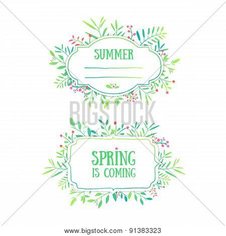 Beautiful banner, card, invitation or label. Spring and summer background. Ornament from leaves, ber