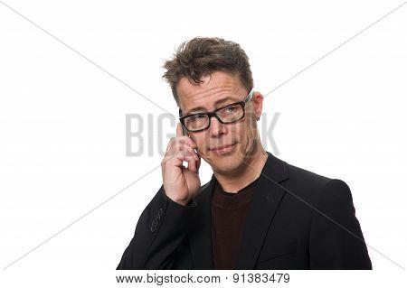 Doubtful Businessman Isolated On White Background