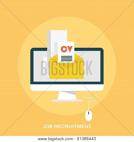 Job recruitment, emailing job resume concept, flat styled icon