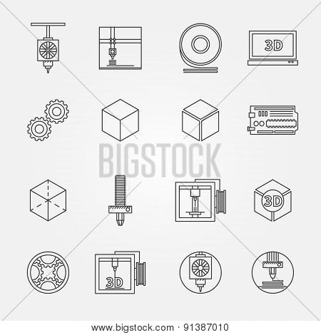 3D print vector icons