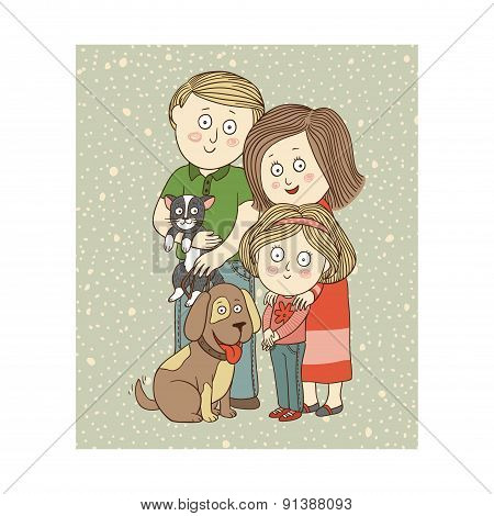 Vector color illustration: Happy family with pets