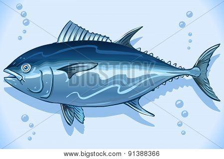 Tuna Watercolor Underwater World