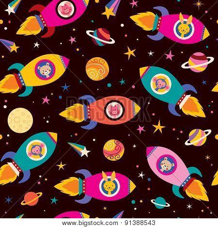 cute animals in spaceships kids pattern
