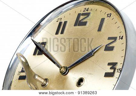 Golden Clock With Arrows