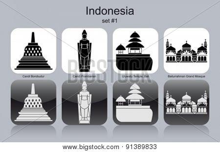 Landmarks of Indonesia. Set of monochrome icons. Editable vector illustration.
