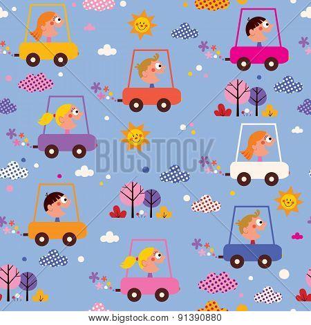 cute kids driving cars pattern