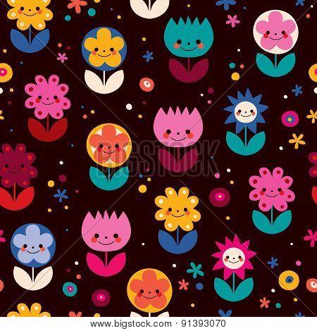 Happy flowers pattern