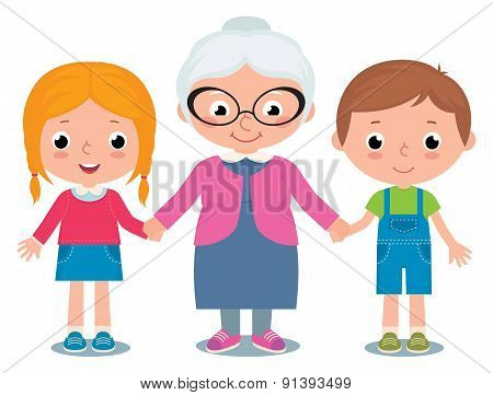 Grandmother And Grandchildren, A Boy And Girl Isolated On White Background