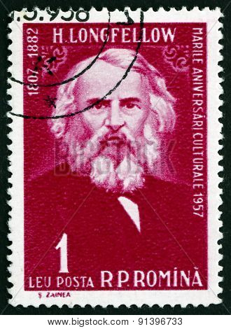 Postage Stamp Romania 1958 Henry Wadsworth Longfellow, American
