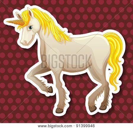 Closeup white unicorn on polkadot background