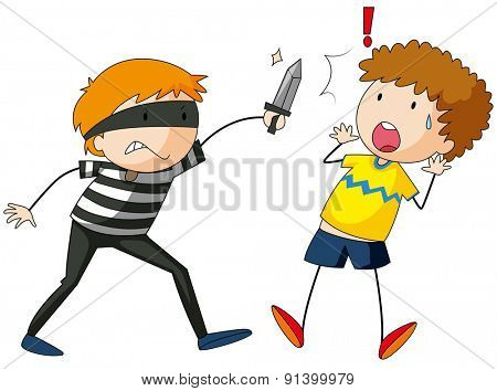 Robber threatening a victim with a knife