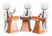 3d white people. Political debate. Political campaign. Isolated white background. poster