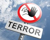 no more terror stop violence terrorism and war poster