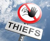 catch thiefs stop theft no robbery or pick pocket thief arrest by police investigation or neighborhood watch prevention poster