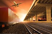 industry container trains running on railways track cargo plane flying with land bridge transportation over ship port use for land air and ship transportation in logistic business industry import expoert shipping service poster