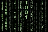 matrix like background, composed of binary combinations poster