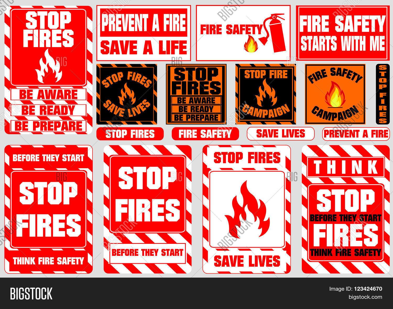 Set Stop Fire Symbols Vector & Photo (Free Trial)   Bigstock