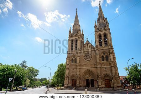 Adelaide Australia - January 3 2016: St. Peter's Cathedral of Adelaide on a day South Australia. View from Pennington Gardens