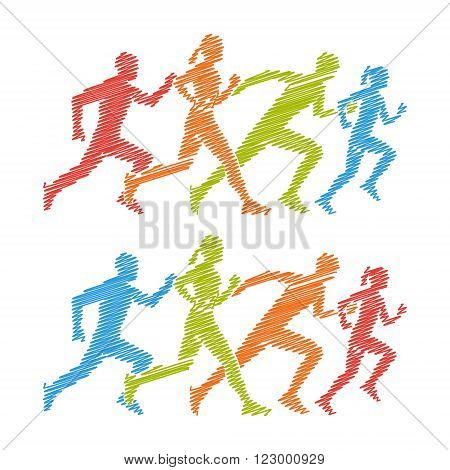 Shading marathon logo. Pencil drawing symbol for running club. Colorful running icon. Shading silhouettes of running boy and girl.