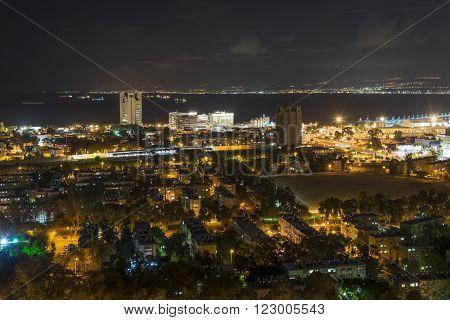 Haifa port view from the Mount Carmel