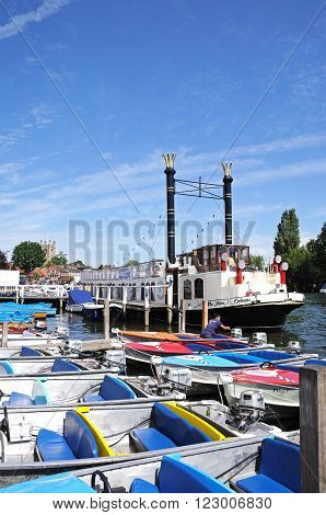 HENLEY-ON-THAMES, UK - JULY 10, 2015 - Boats moored along the River Thames Henley-on-Thames Oxfordshire England UK Western Europe, July 10, 2015.