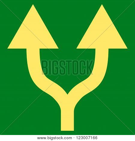 Split Arrows Up vector symbol. Image style is flat split arrows up iconic symbol drawn with yellow color on a green background.