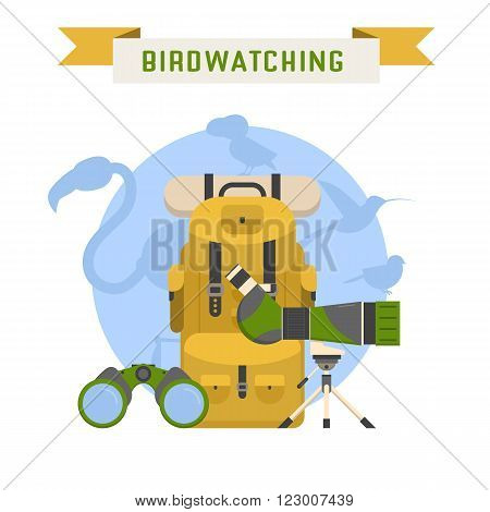 Birdwatching tourism concept background. Birding summer travel elements with bird silhouettes. Birdwatching and birding lifestyle vector illustration.