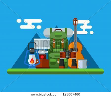 Hiking elements and accessories concept vector illustration. Mountain hike and camp gear icons. Camping lantern binoculars backpack guitar and cup. Summer travel