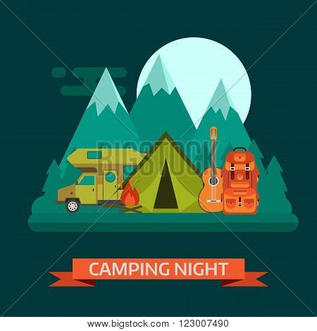 Camping night concept landscape. Campsite place with camper van tourist rucksack guitar campfire forest mountains and moon. Wilderness campsite area background.