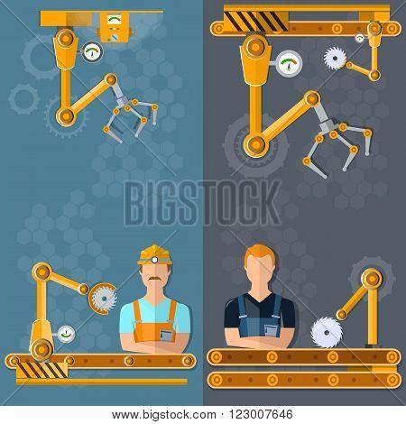 Conveyor banners automation of labor conveyor belt conveyor operator vector illustration