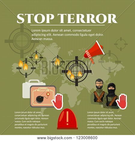 Terrorism global threat world terror group terrorists vector illustration